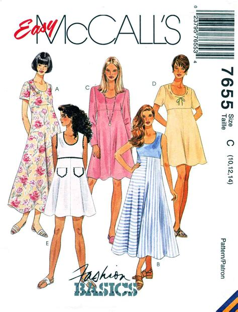 dress pattern empire waist mccalls sewing pattern 7655 misses size 10 14 easy empire