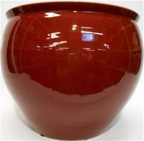 porcelain fish bowl planter glazed in oxblood