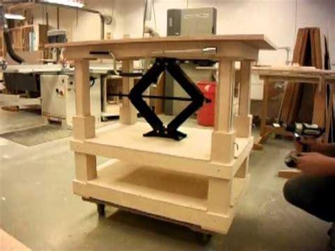 Garage Workbench Design scissor jack table youtube