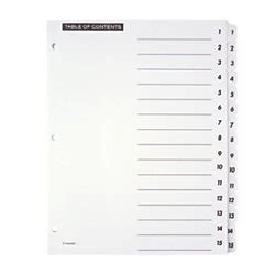 Amazon Com Office Depot Table Of Contents Customizable Index With Preprinted Tabs White Office Depot Table Of Contents Template