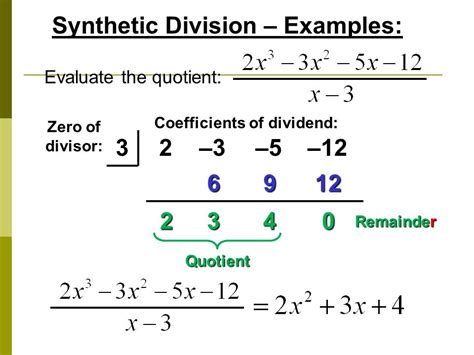 long division algorithm and synthetic division ppt