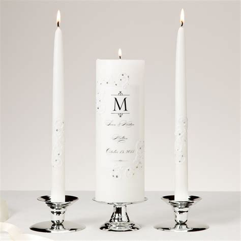 Unity Candle by Piazza Lace And Crystals Unity Candle And Tapers Set