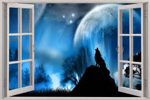 wolf wall mural huge 3d window lone wolf at night view wall sticker mural