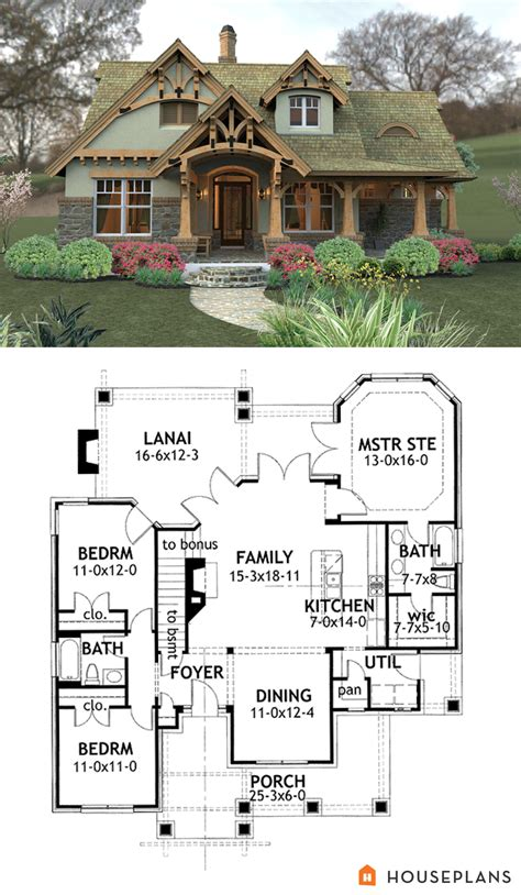 craftsman mountain house plan and elevation 1400sft
