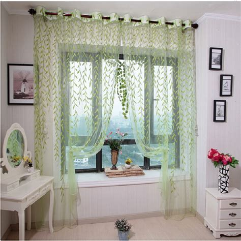 1pcs green willow sheer curtain for living room window green purple willow window treatments design curtain yarn