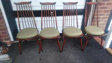 Vintage Ercol Drop Leaf Dining Room Table 6 Ercol Chairs 2 Ercol Dining Room Furniture
