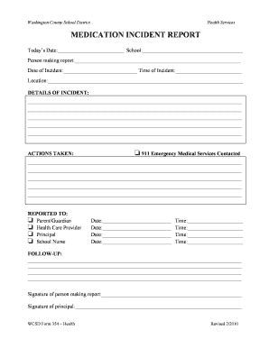 Medication Incident Report Form Template