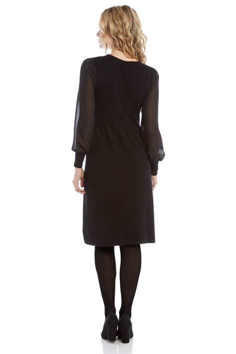 Sleeve Knit Dress sheer sleeve knit dress in black originals uk