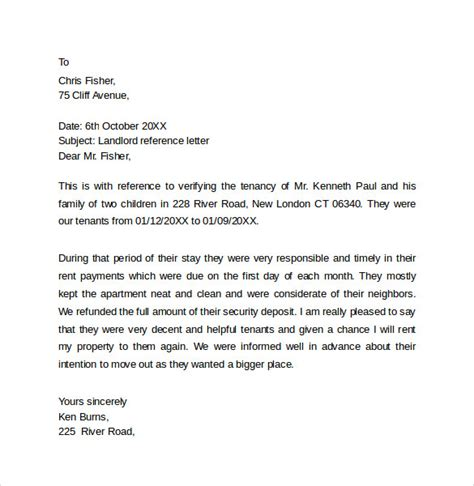 Reference Letter For Landlord Uk Landlord Reference Letter Template 10 Sles Exles Formats