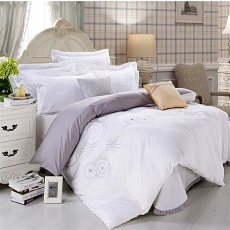 White Hotel Bedding by Black White Hotel Duvet Cover King 4pcs Embroidered
