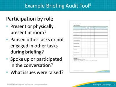 section 11 audit tool auditing your briefings and debriefings process slide