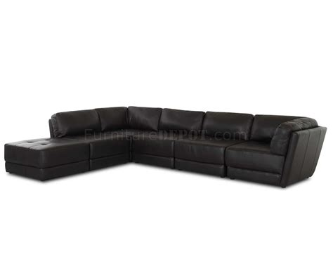 Stylish Leather Sofas Black Bonded Leather Stylish Sectional Sofa W Tufted Seats