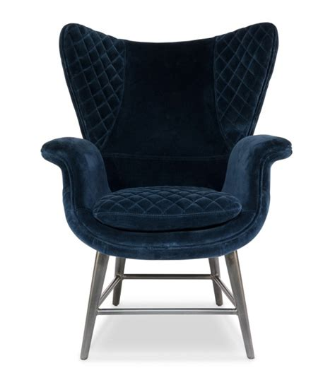 blue velvet wing chair blue quilted velvet wing arm chair