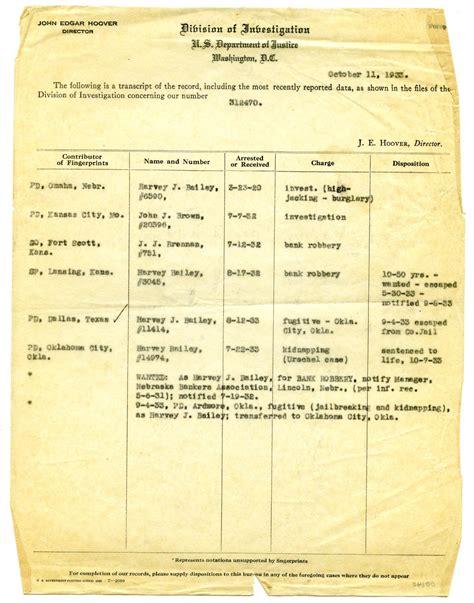 Fbi Federal Criminal History Record Harvey J Bailey Fbi Criminal Record The Portal To