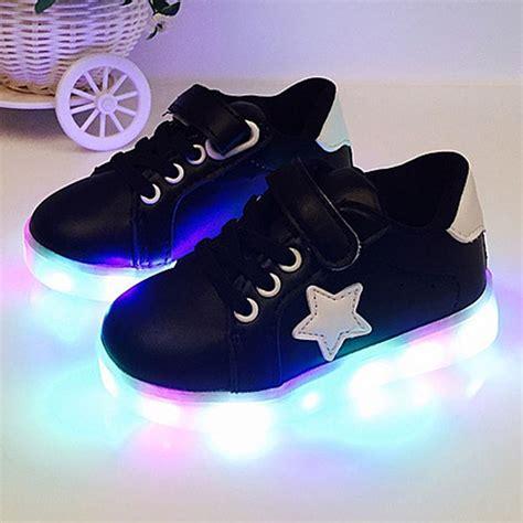 New 26 30 Kid Shoes Led Sparkly Sepatu Flat Anak Sepatu Led led boys shoes light up children trainers sport sneakers alex nld