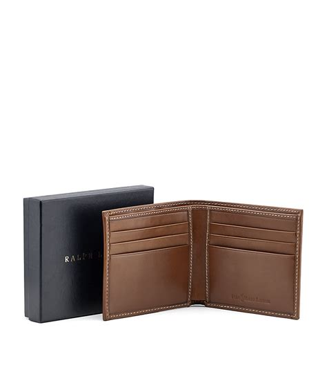 Polo Wallet For polo ralph burnished leather billfold wallet in brown for lyst