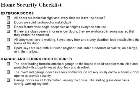 home security checklist home security checklist template