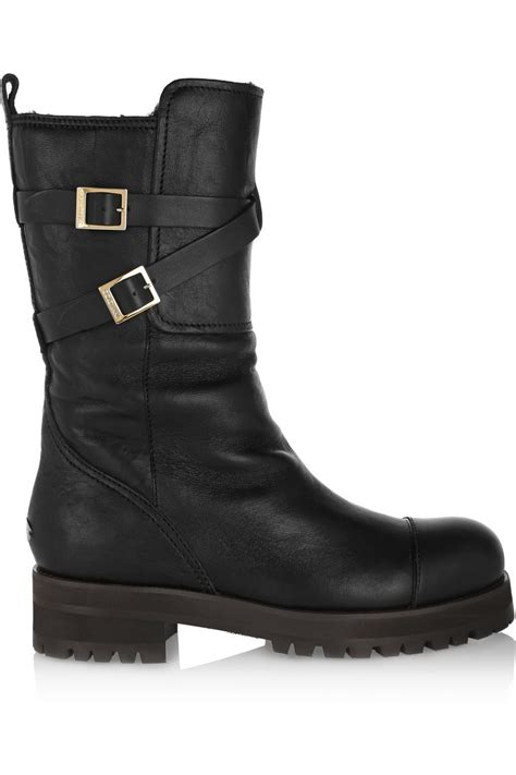 leather biker boots lyst jimmy choo dwight shearling lined leather biker
