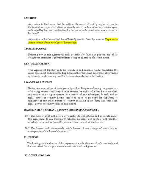 auto lease agreement template vehicle lease agreement template free