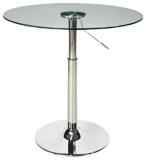 Glass Bistro Table Standard Furniture Glass Top Dining Table With Adjustable Adjustable Height Pub Table