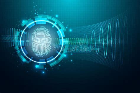 Fingerprint Letter P Security System Concept Stock Vector