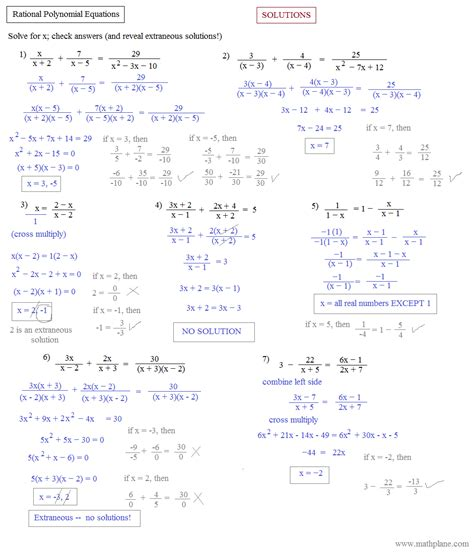 Algebra 2 Rational Functions Worksheet by Solving Polynomial Equations Worksheet Lesupercoin