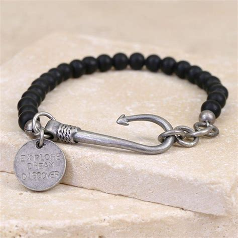 men's personalised matt bead and fish hook bracelet by lisa angel   notonthehighstreet.com