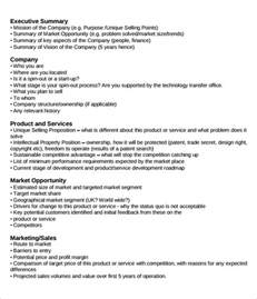 Summary Business Plan Template 31 executive summary templates free sle exle
