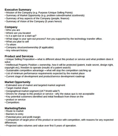 business plan executive summary template 31 executive summary templates free sle exle