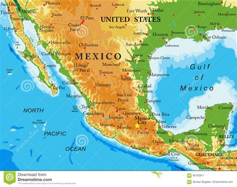 physical map mexico mexico relief map stock vector illustration of honduras
