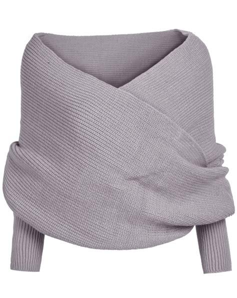 Gray Wool Knit Top S607 shoulder crop knit grey sweaterfor romwe