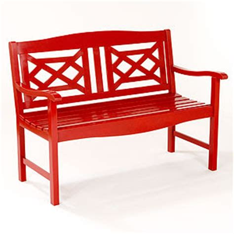 red outdoor bench snippi tippi retail therapy spring has sprung