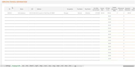 Employee Payroll Spreadsheet by Payroll Register Spreadsheet