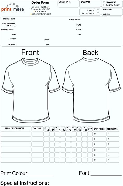 printable tshirt order forms free printable order forms t shirt template update234