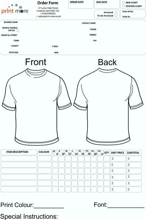 printable tshirt order form template free printable order forms t shirt template update234