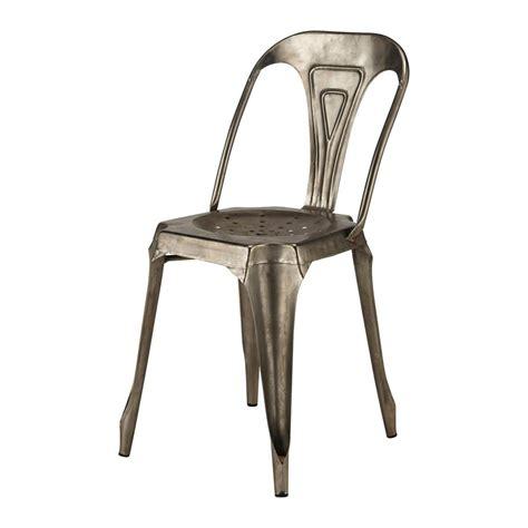 chaise en métal chaise indus en m 233 tal grise multipl s maisons du monde
