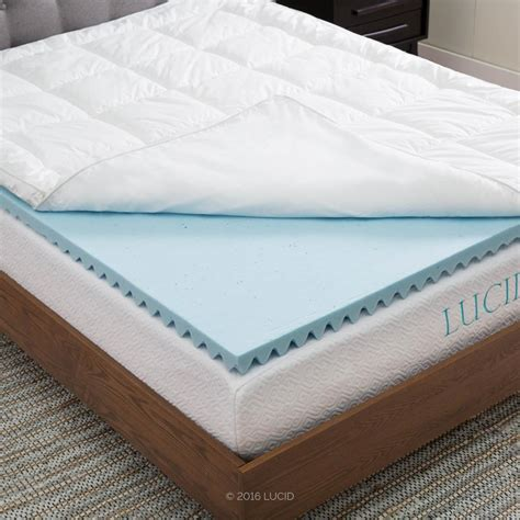foam bed pad lucid queen hybrid down alternative gel infused memory