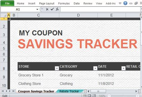 Coupon Rebate Tracker Template For Excel Microsoft Office Coupon Template