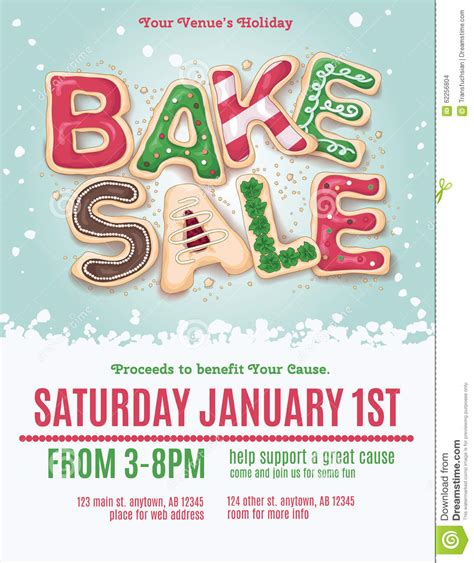 Christmas Bake Sale Flyer Stock Vector Image 62256804 Cookie Flyer Template Free