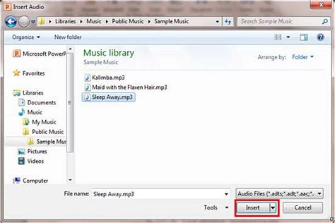 format audio embed insert audio sound in powerpoint 2010 for windows