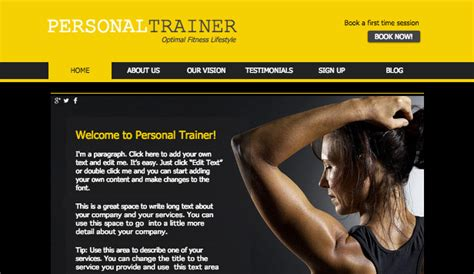 Fitness Training Wix Template Wix Health Wellness Template Fitness Trainer Website Templates