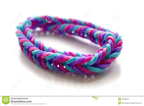 Made White up of bracelet made with rubber bands stock photo
