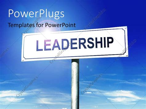 Powerpoint Template A Sign Of Leadership With Sky In The Background 18806 Leadership Powerpoint Templates