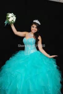 vestidos de quinceañera color aqua custom made gown beaded turquoise quinceanera