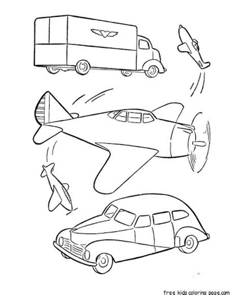 military car  airplane coloring pages printable