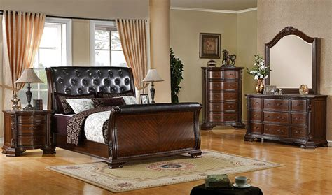 austin tufted leather sleigh bed