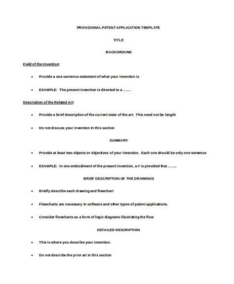 9 Application Template Word Pdf Free Premium Templates Provisional Patent Template Doc