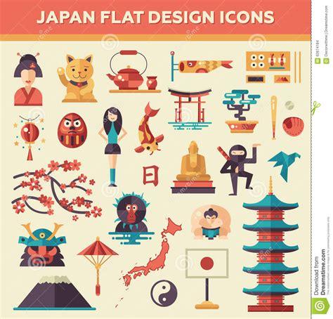 flat icon design japan set of flat design japan travel icons stock vector image