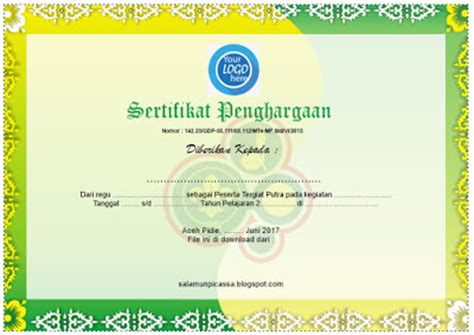 gambar format sertifikat download contoh desain sertifikat share the knownledge