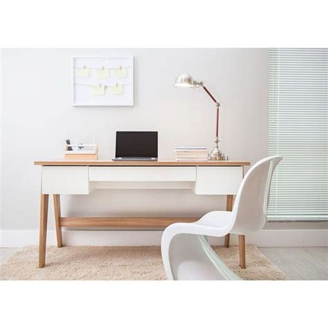 modern office desk with 3 drawers hanover white